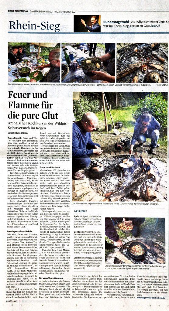 Artikel über die Lagerfeuer Kochschule in Rhein Sieg Rundschau 11.09.2021